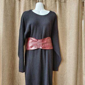 Burgundy leather huge wide snap belt